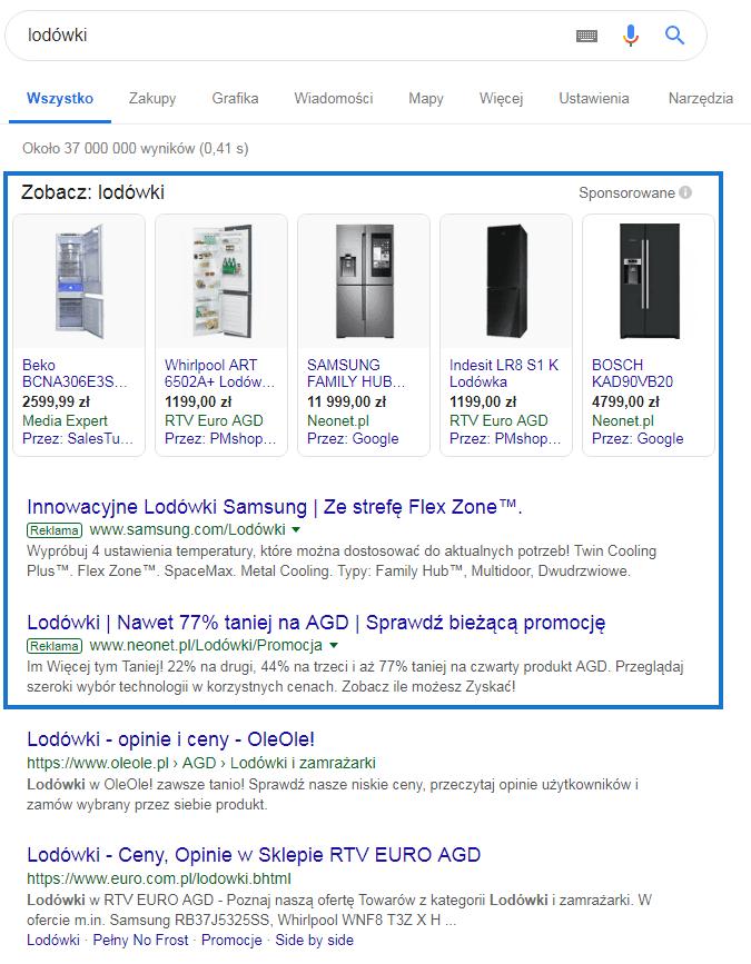 Wyniki wyszukiwarnia Google